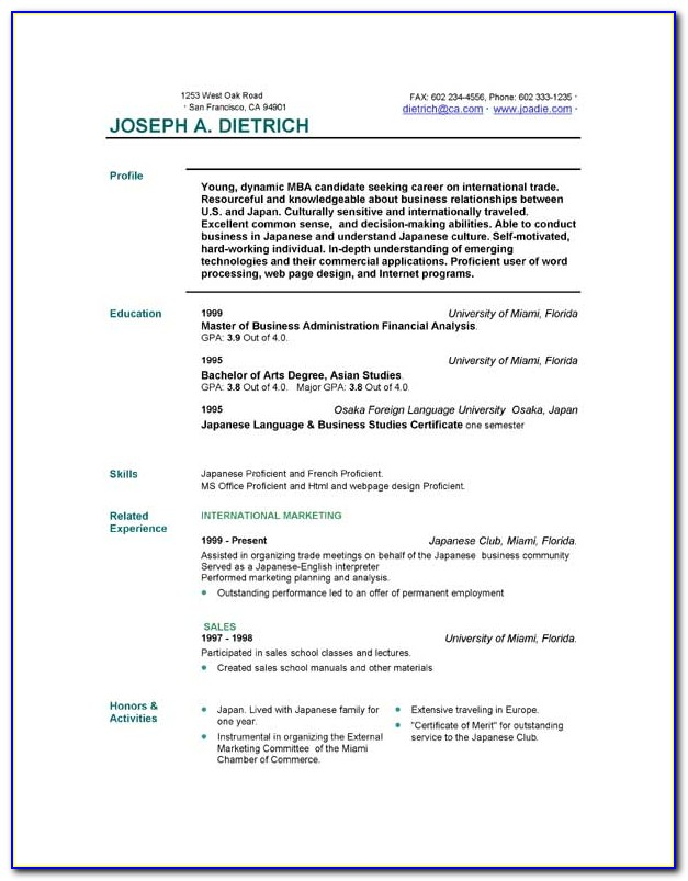 Resume Format Free Download Word File