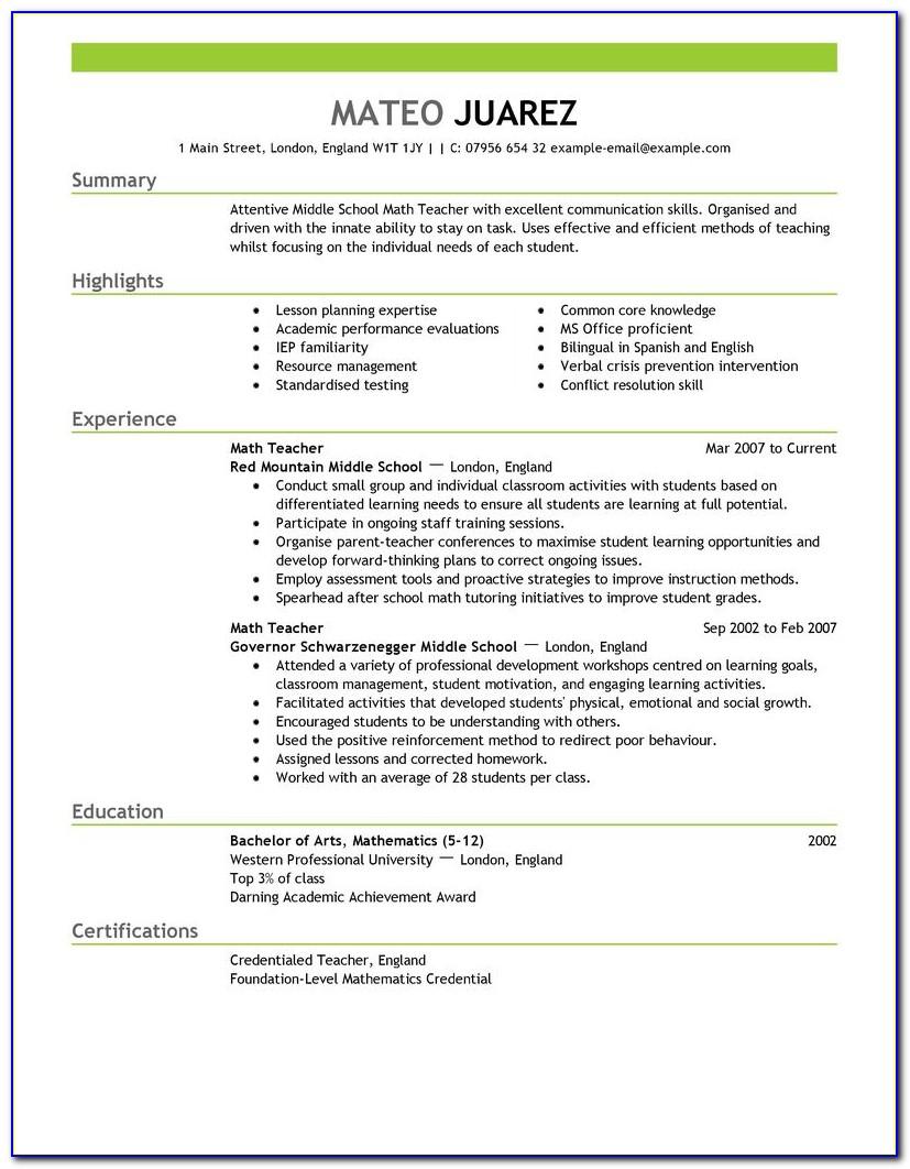 Resume Template For Teachers Aide Australia