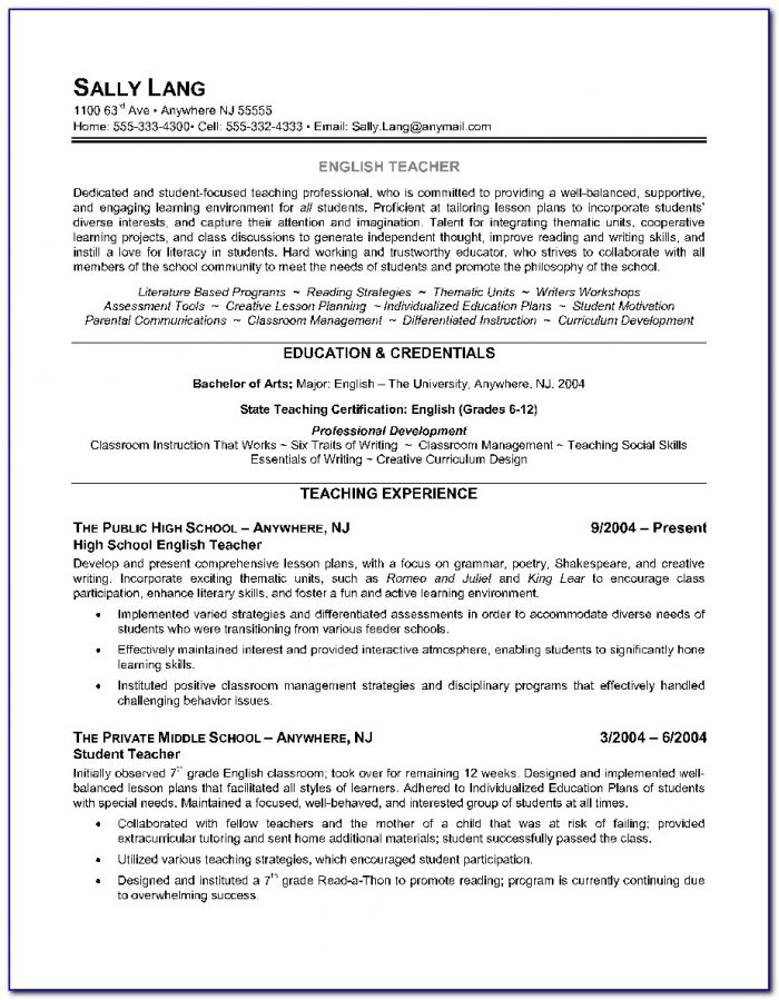 Resume Template For Teachers Australia