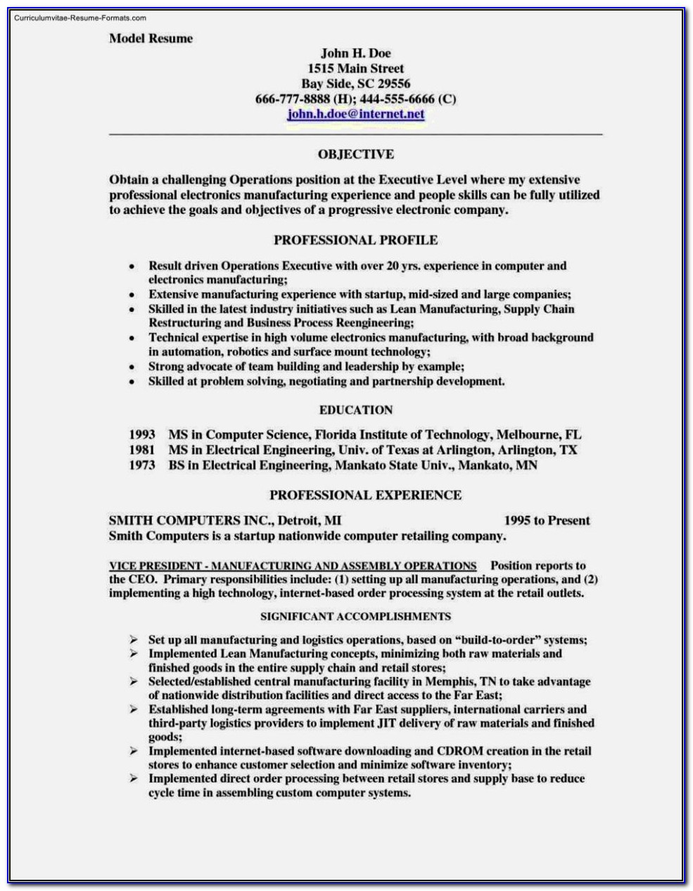 Download Resume Word Format