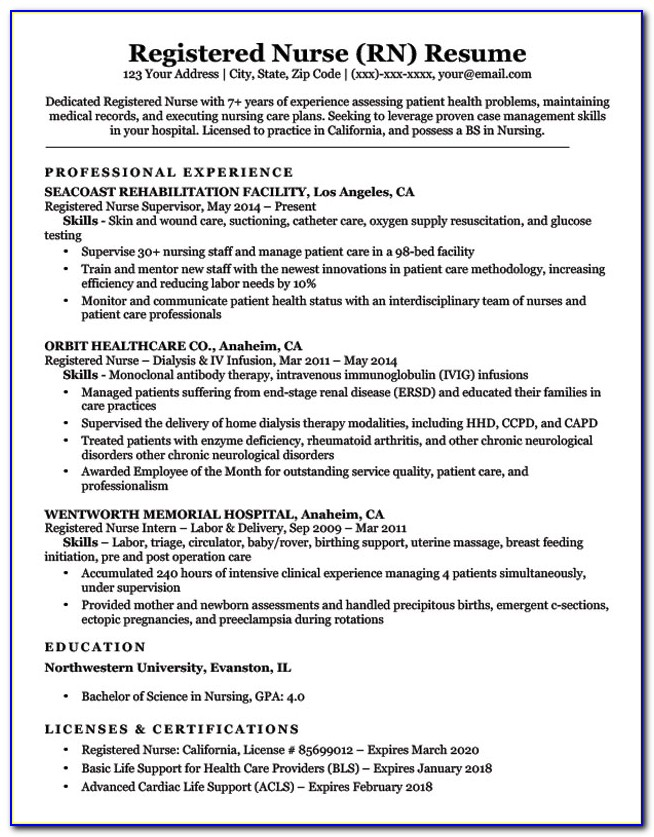 Resumes For Nurses Examples