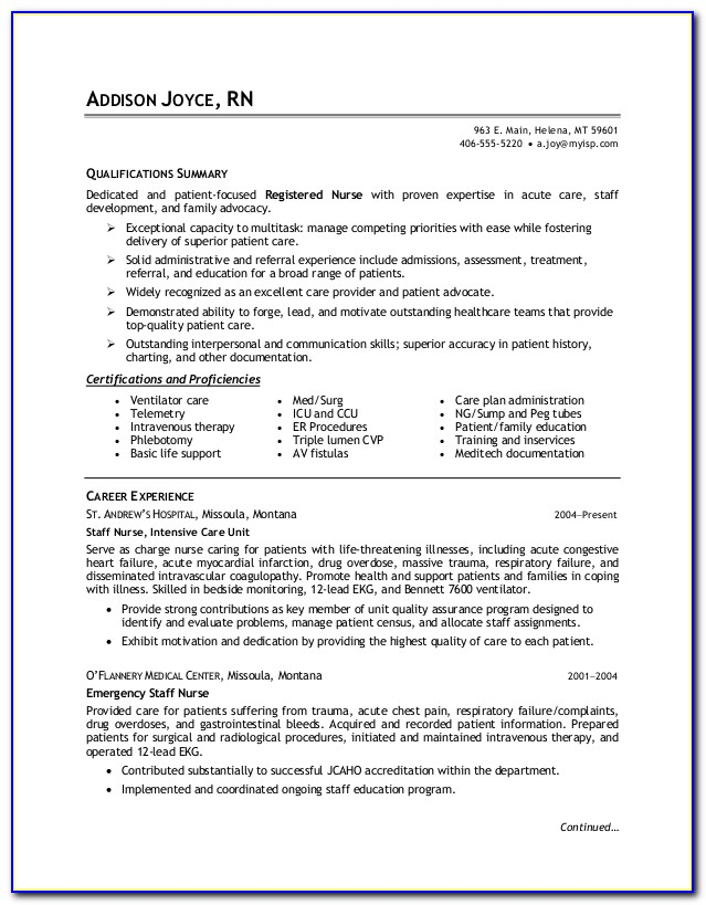 Resumes For Nurses Free