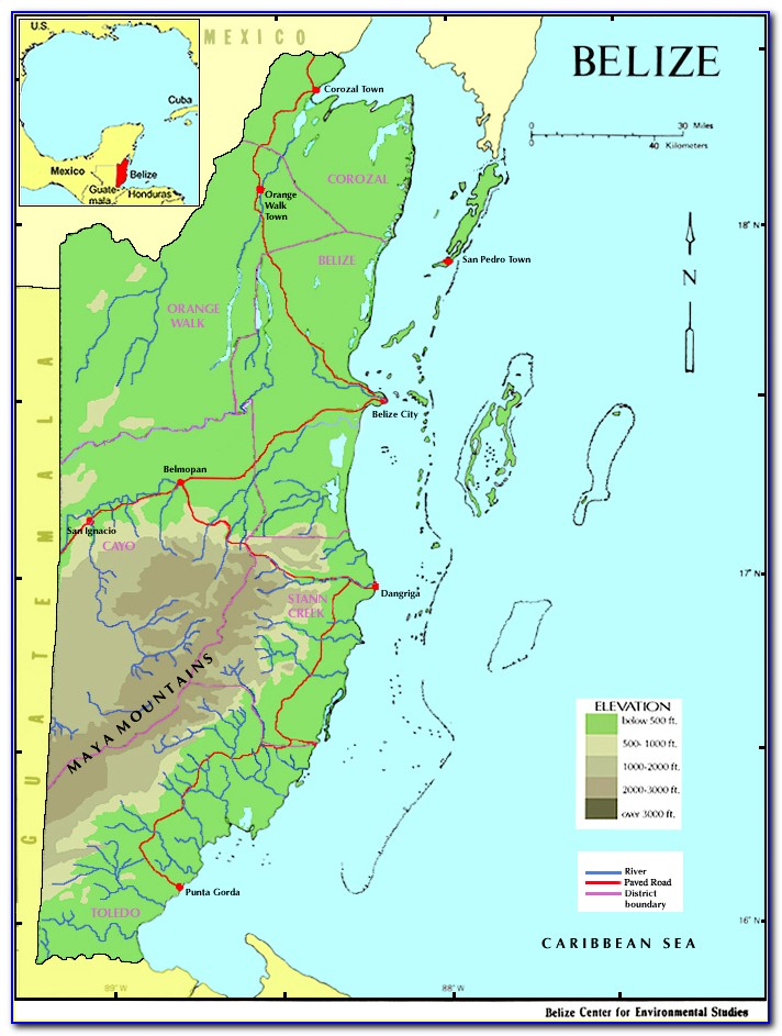 Road Map Of Belize