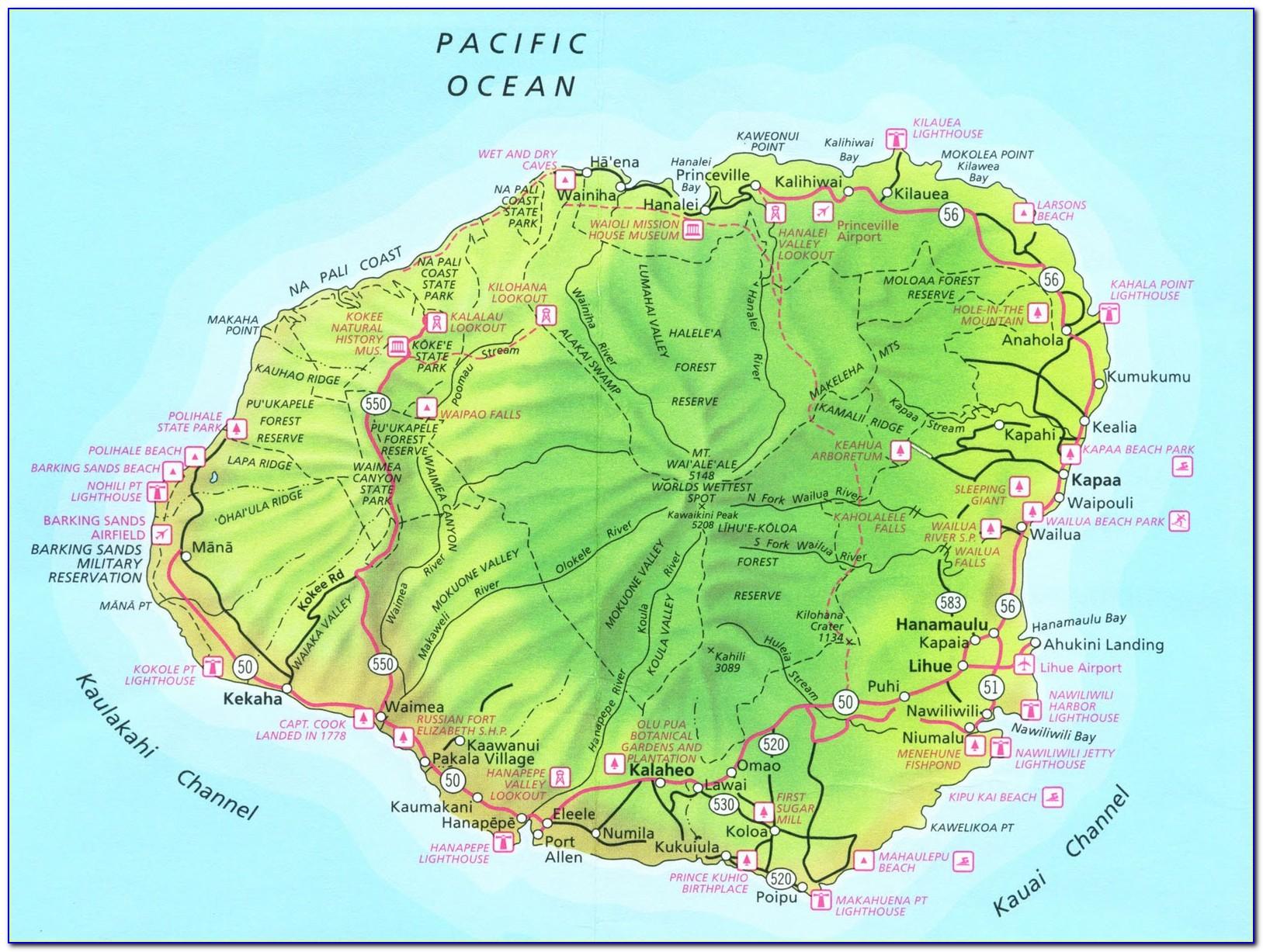 Road Map Of Kauai Hawaii