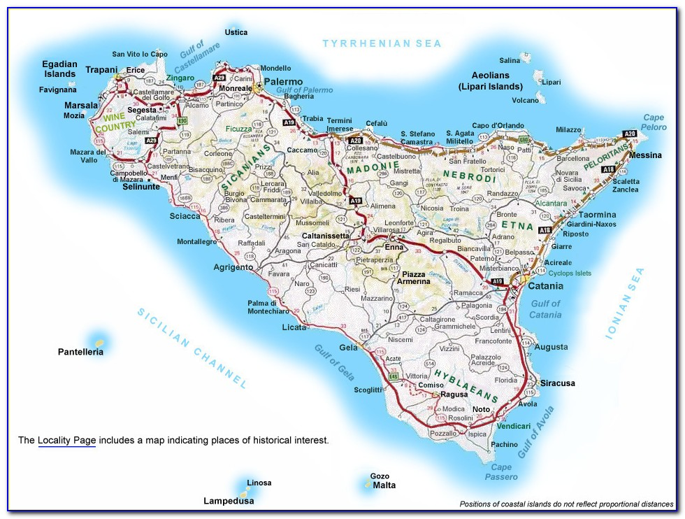 Road Map Of Sicily Amazon