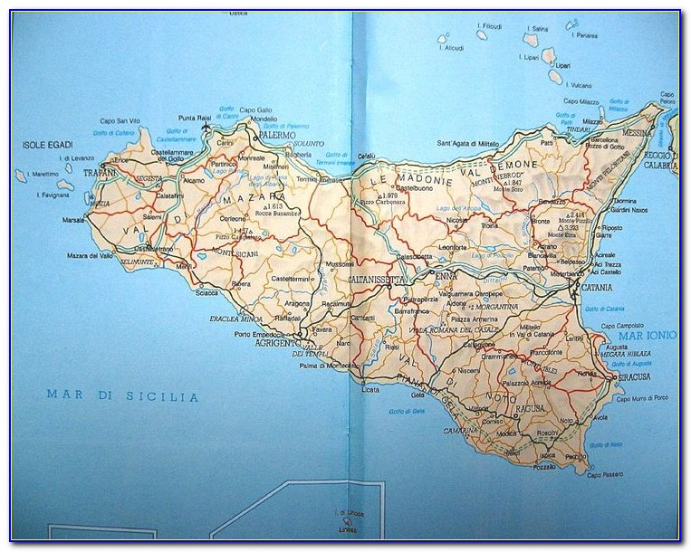 Road Map Of Sicily Italy