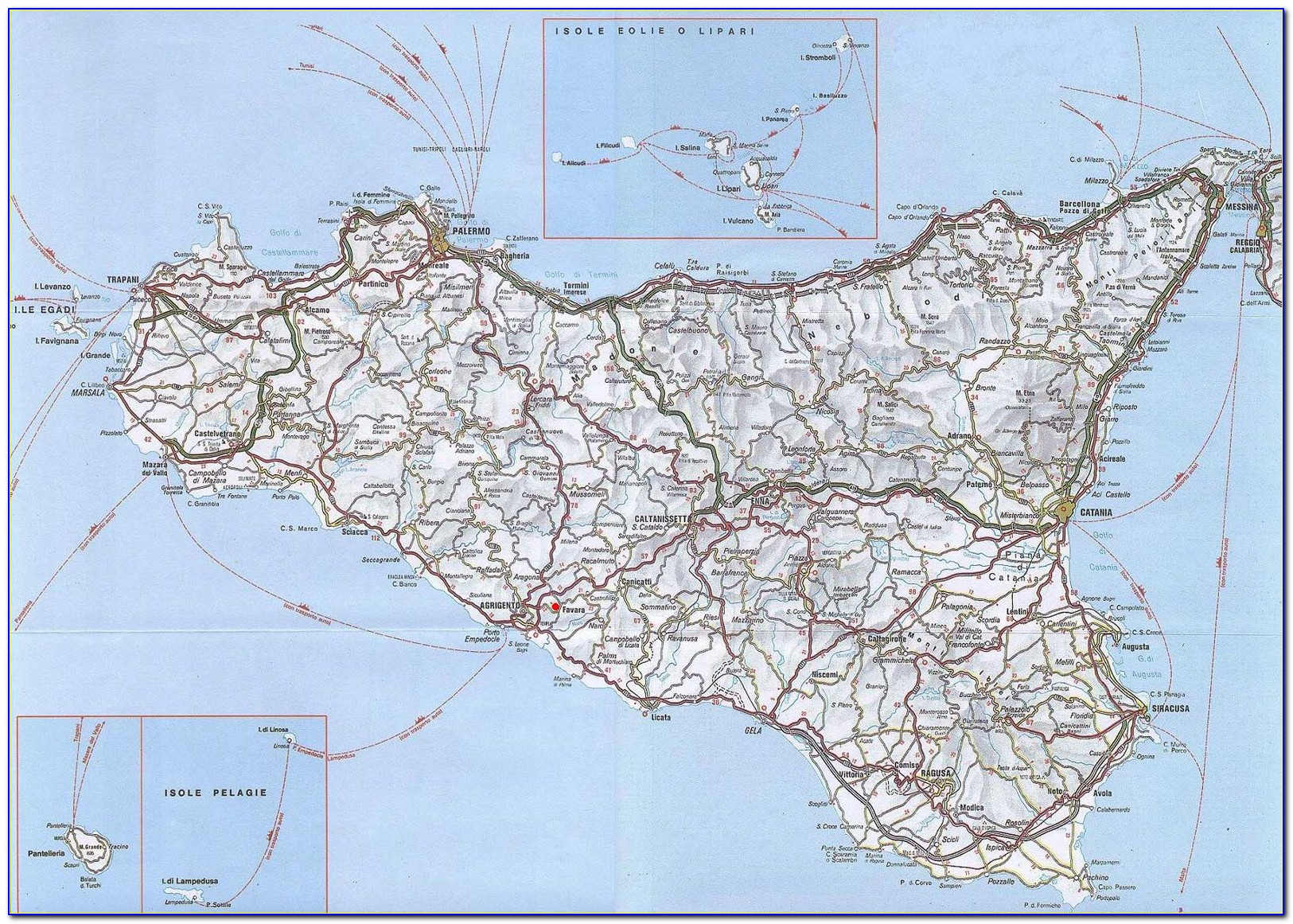 Road Map Of South East Sicily