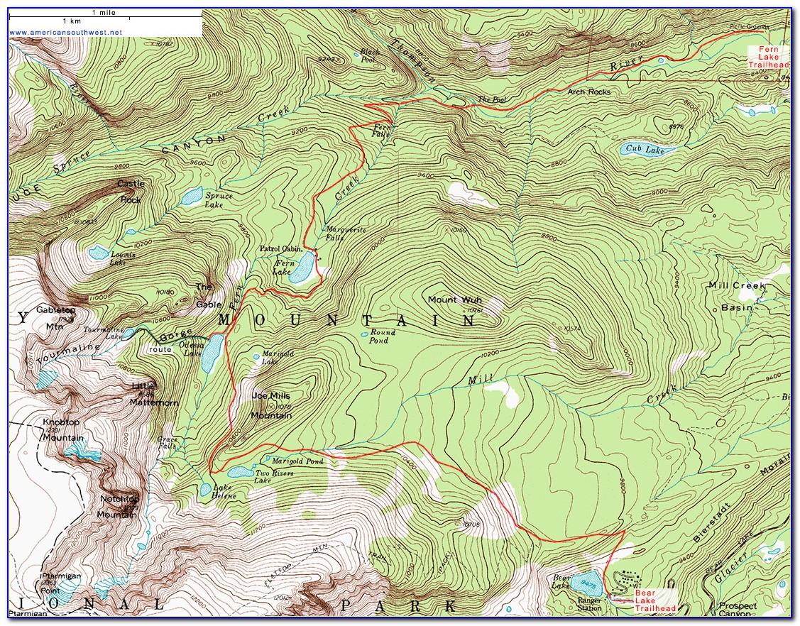 Rocky Mountain National Park Panoramic Hiking Map
