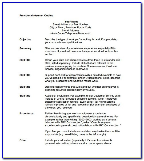 Sample Outline Of A Resume