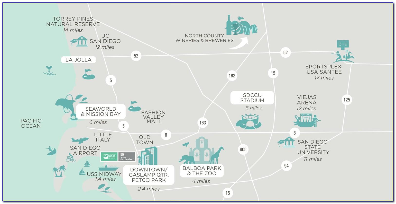 San Diego Gaslamp Hotel Map