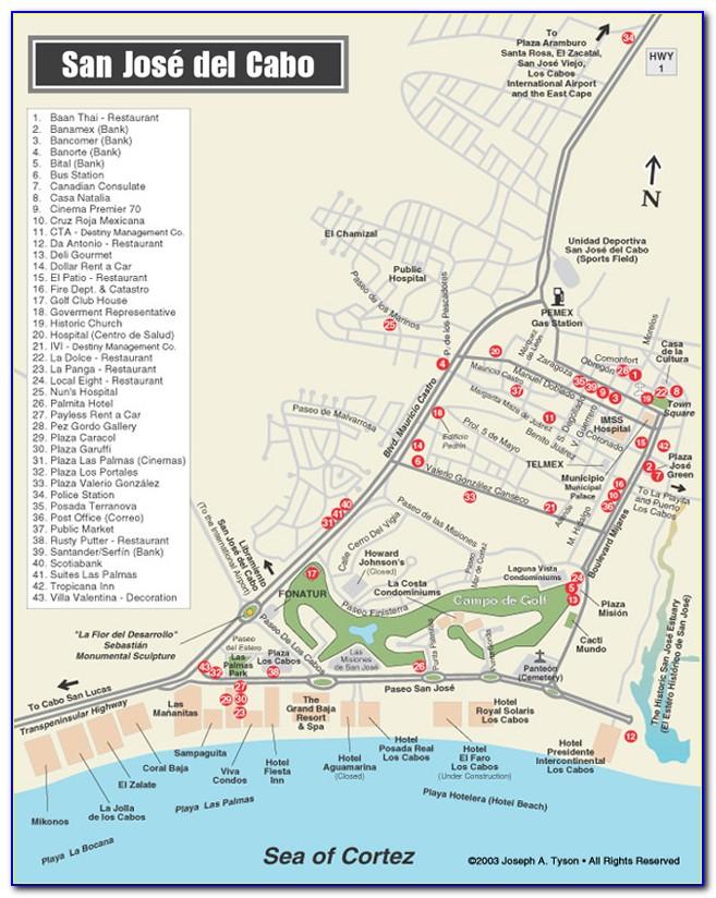 San Jose Del Cabo Hotel Zone Map