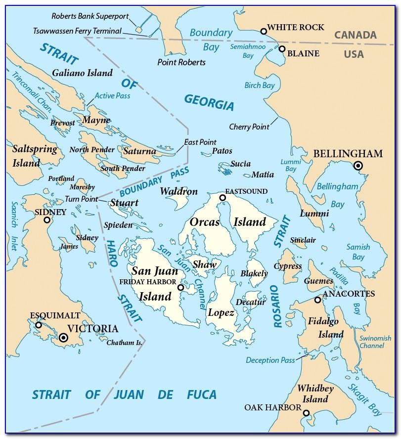 San Juan Islands Map Detailed