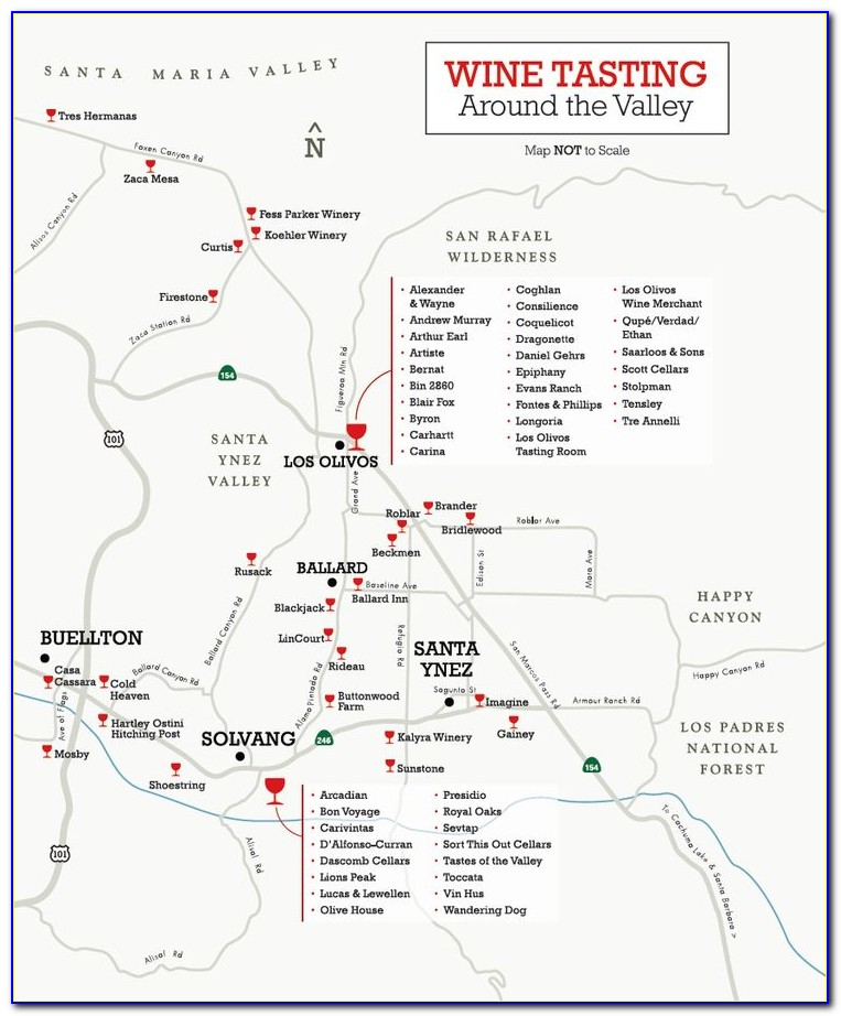 Santa Barbara City Wine Tasting Map