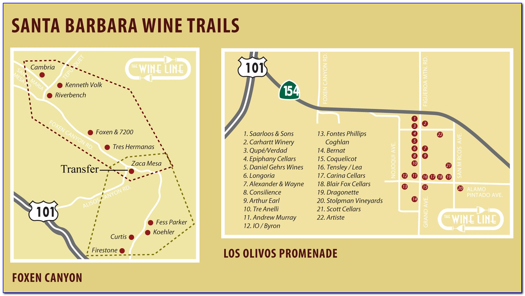Santa Barbara Wine Tasting Rooms Map