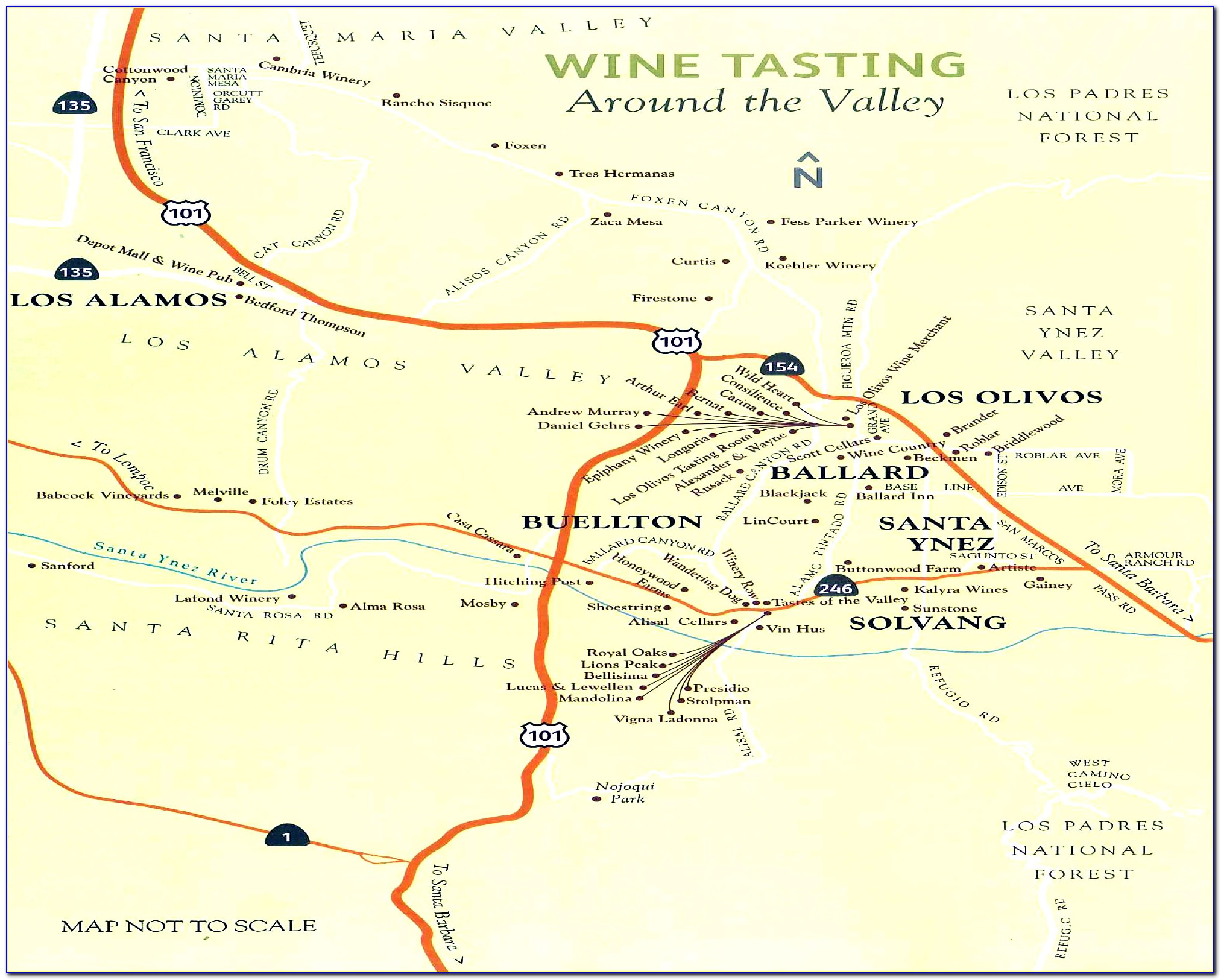 Santa Ynez Wine Tasting Map