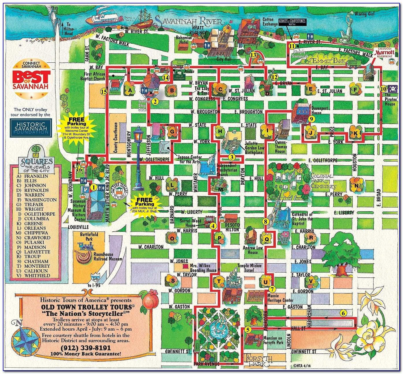 Savannah Ga Hotels Historic District Map