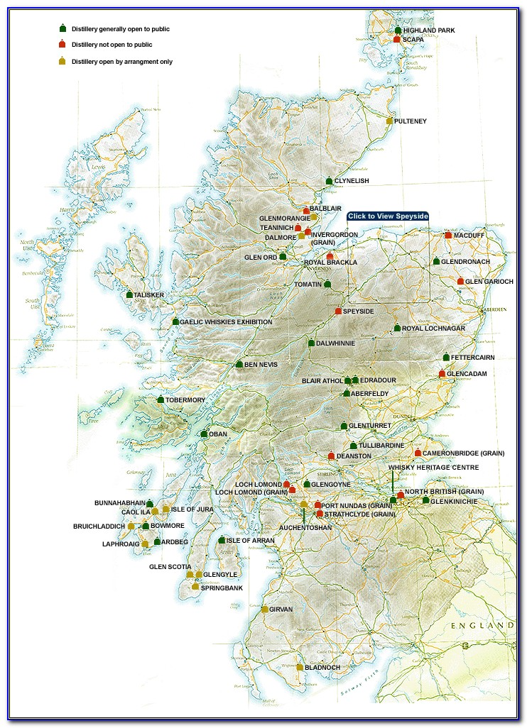 Scotch Distillery Map Of Scotland