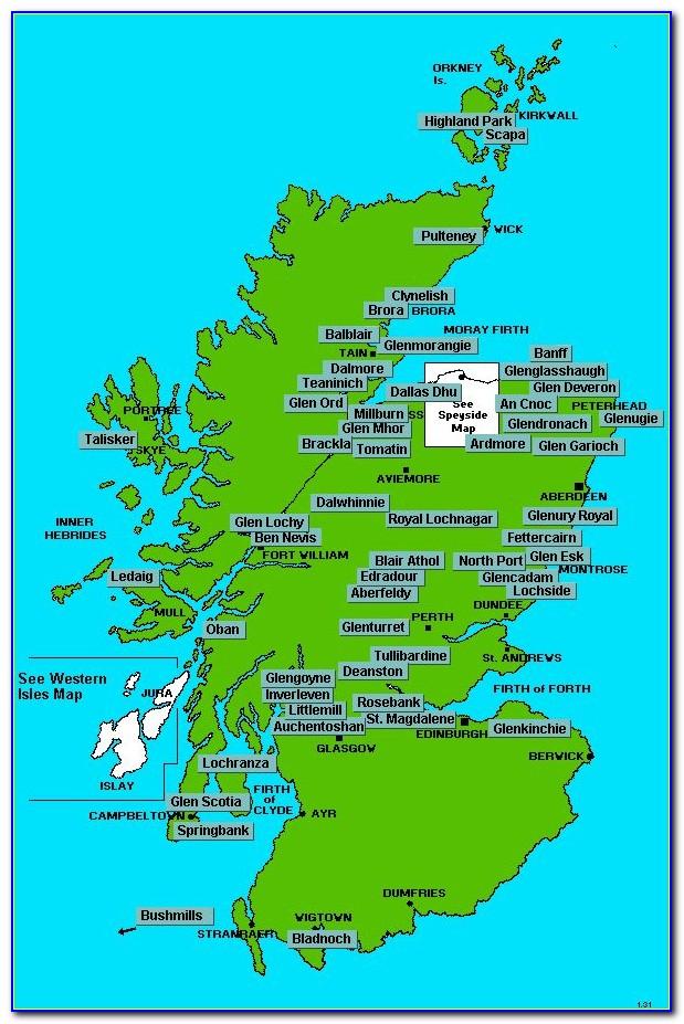 Scotland Scotch Distillery Map