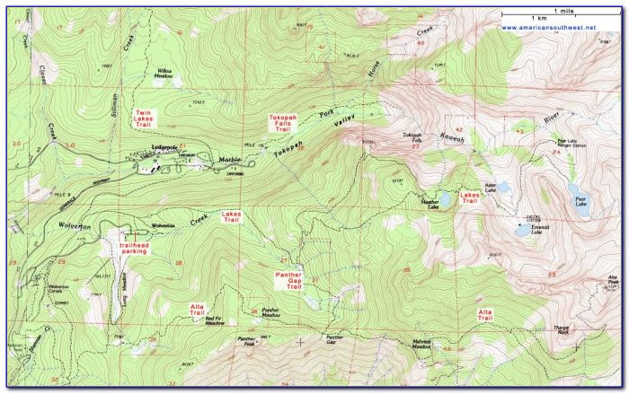 Sequoia National Park Hiking Trail Map