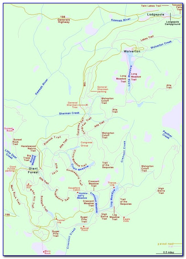 Sequoia National Park Trail Map