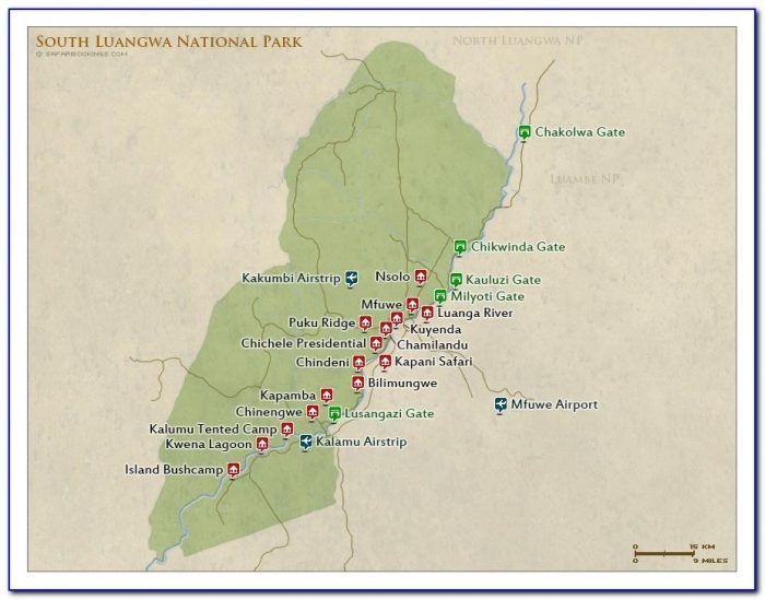 South Luangwa National Park Lodges Map