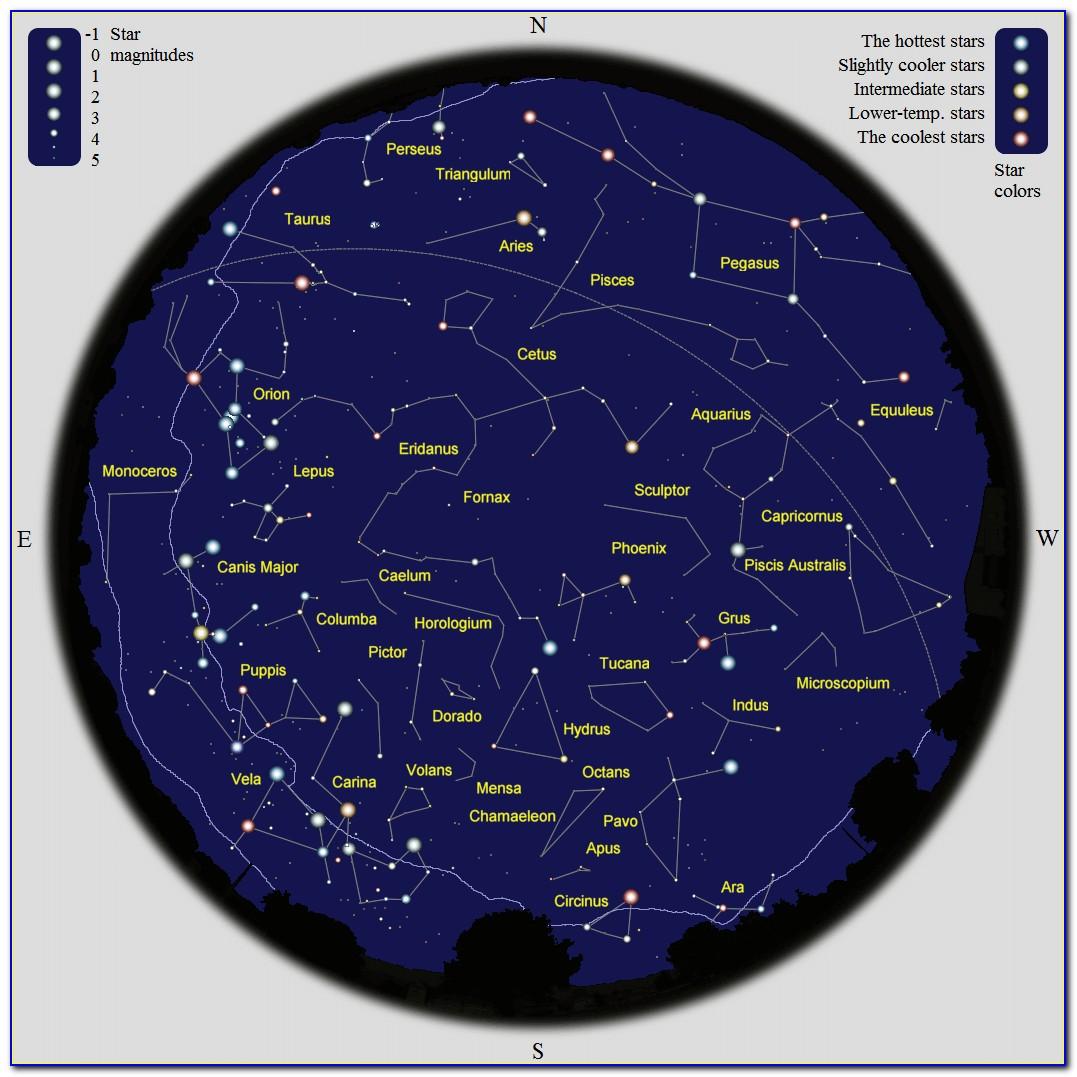Southern Hemisphere Star Map January
