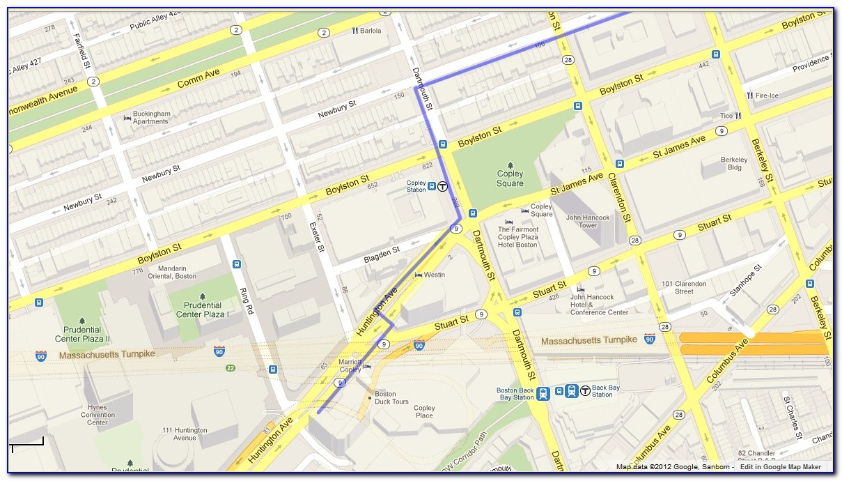 Street Map Copley Square Boston
