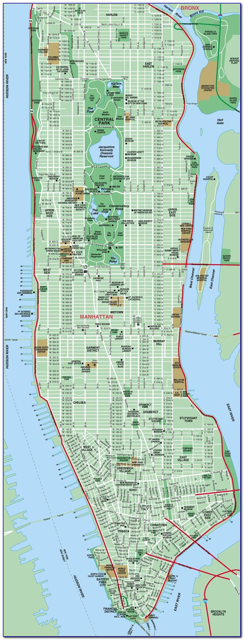Street Map Of New York City Manhattan
