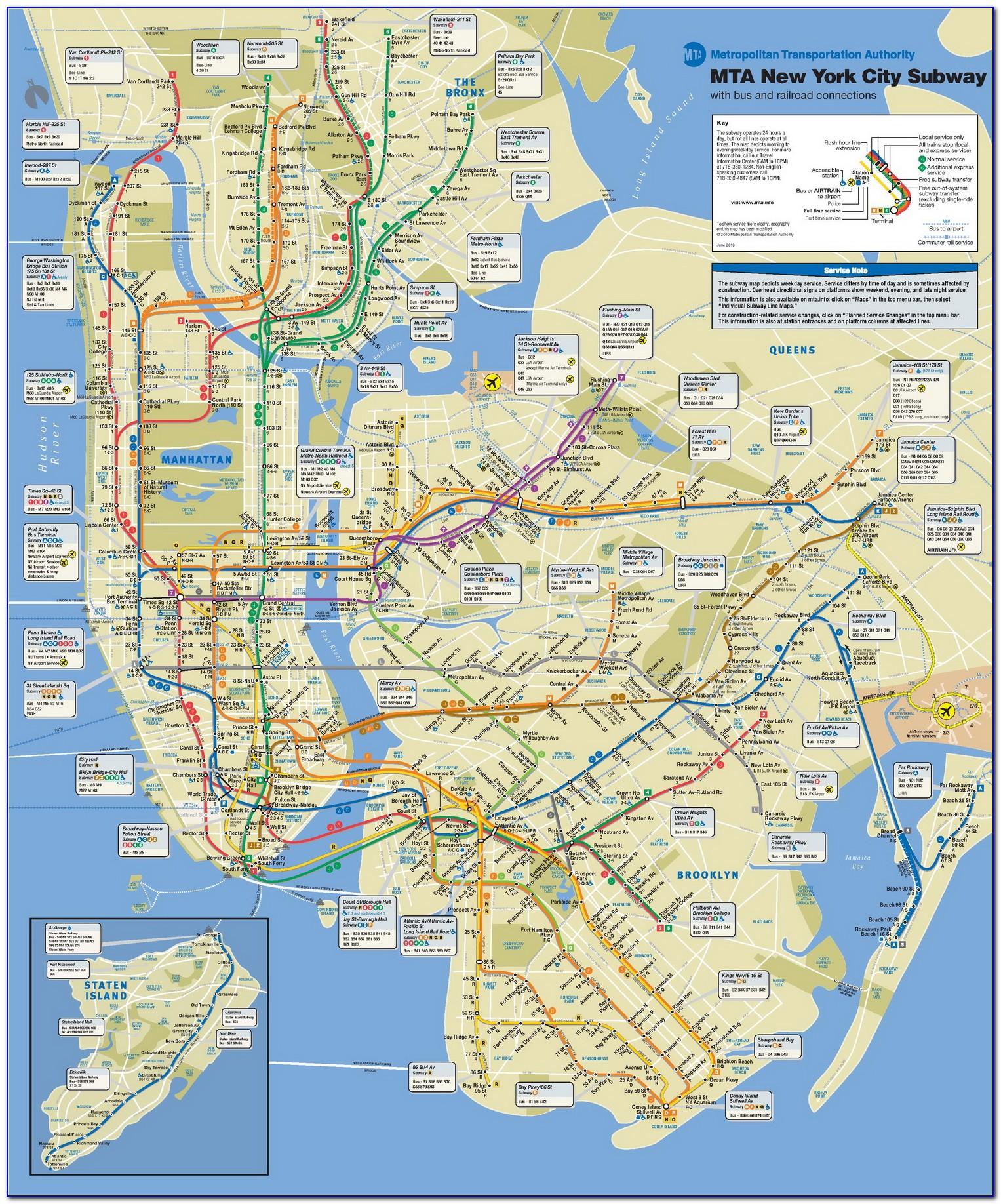 Subway Map Of Manhattan New York