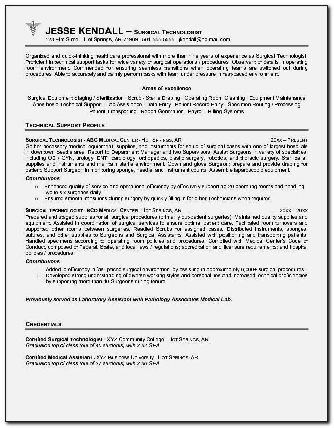 Cover Letter For Surgical Technology