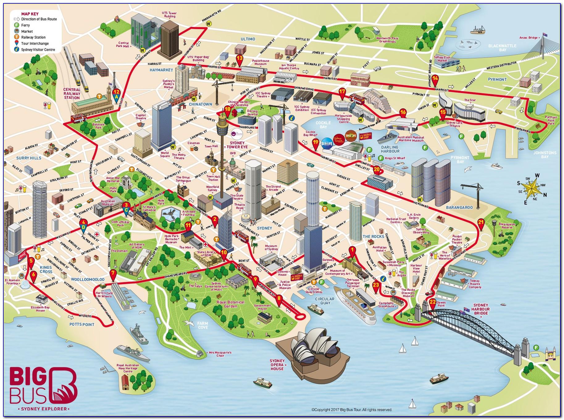 Sydney Australia Hop On Hop Off Bus Route Map