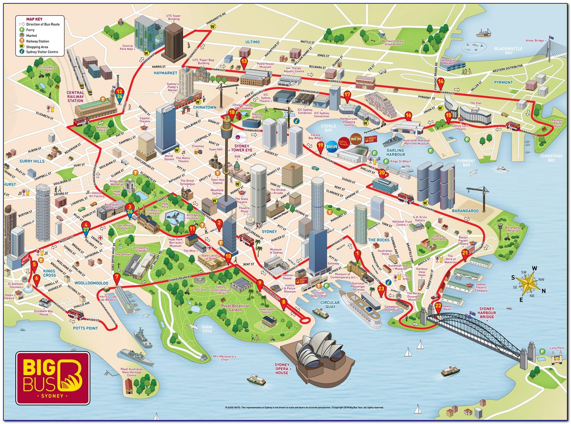 Sydney Hop On Hop Off Bus Tour Map