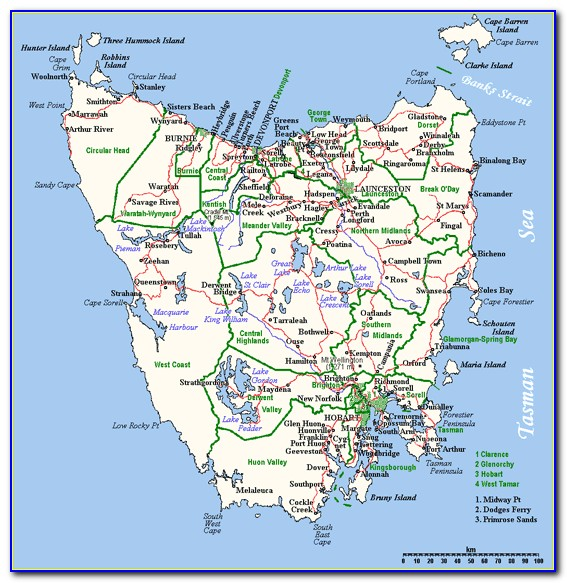 Tasmania Map Travel Times
