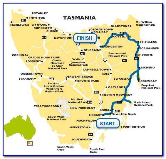 Tasmania Trip Map