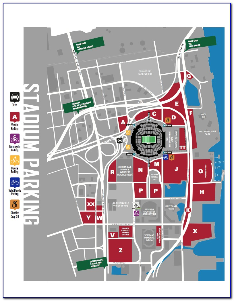Titans Parking Pass Map