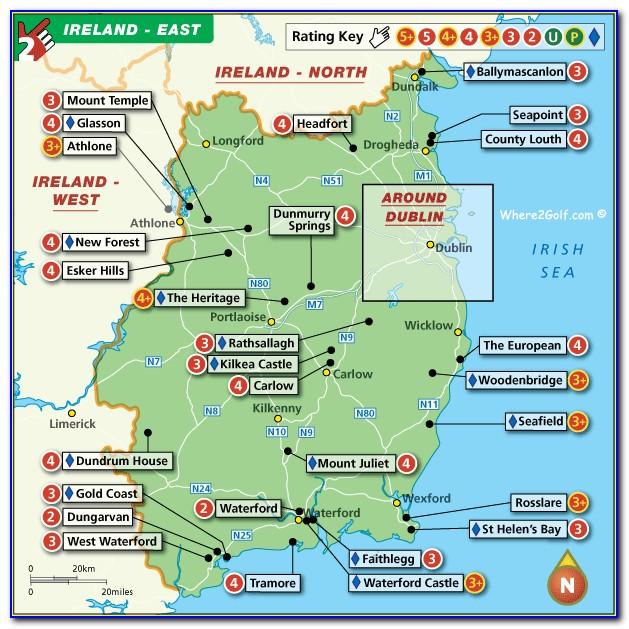 Top 100 Golf Courses In Ireland Map