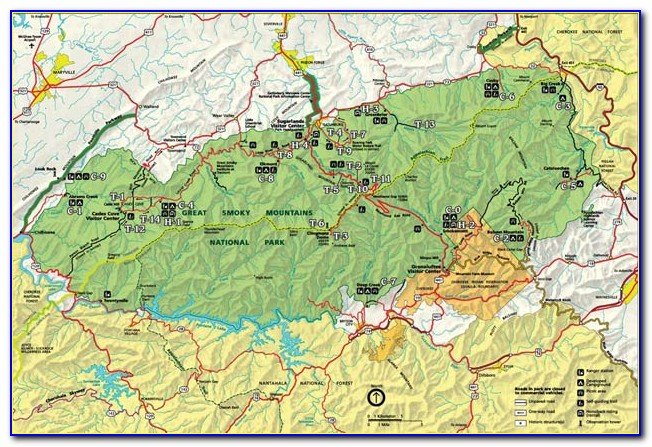 Topographic Map Great Smoky Mountains National Park