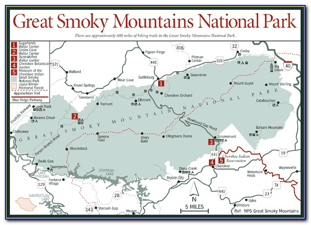 Topographic Map Of Great Smoky Mountain National Park