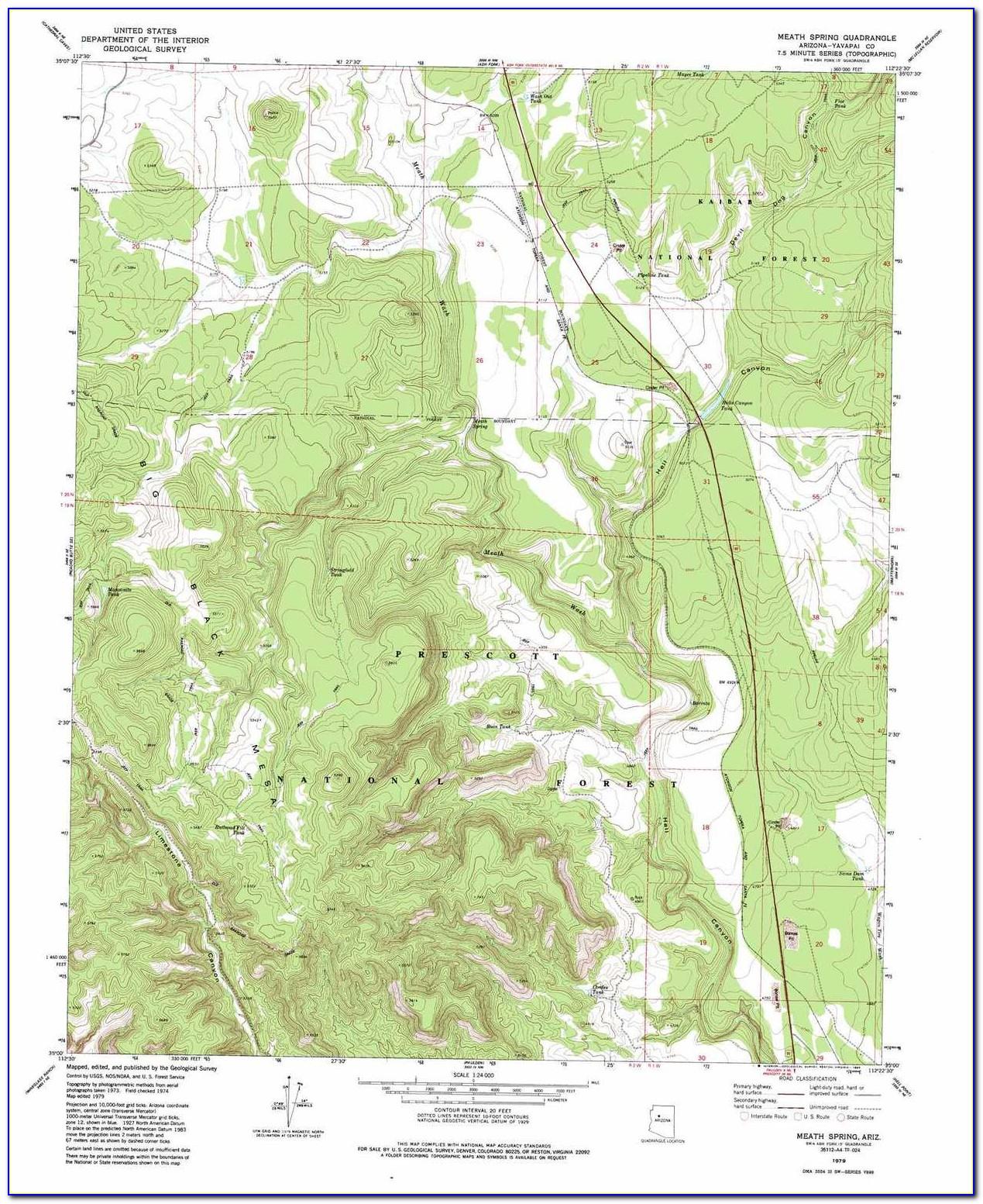 Topographic Map Phoenix Arizona