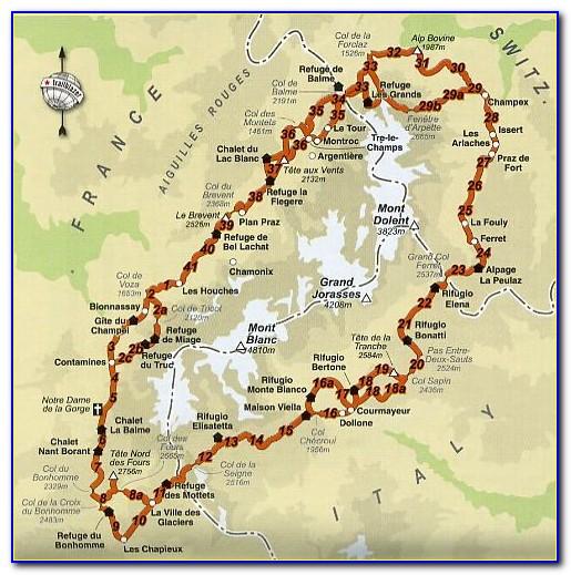 Tour Du Mont Blanc Hiking Map