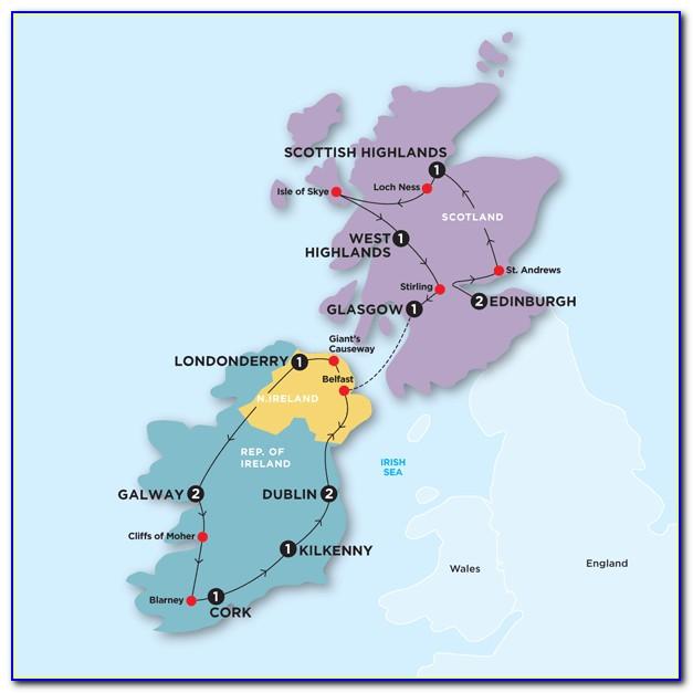 Travel Map Of Ireland And Scotland
