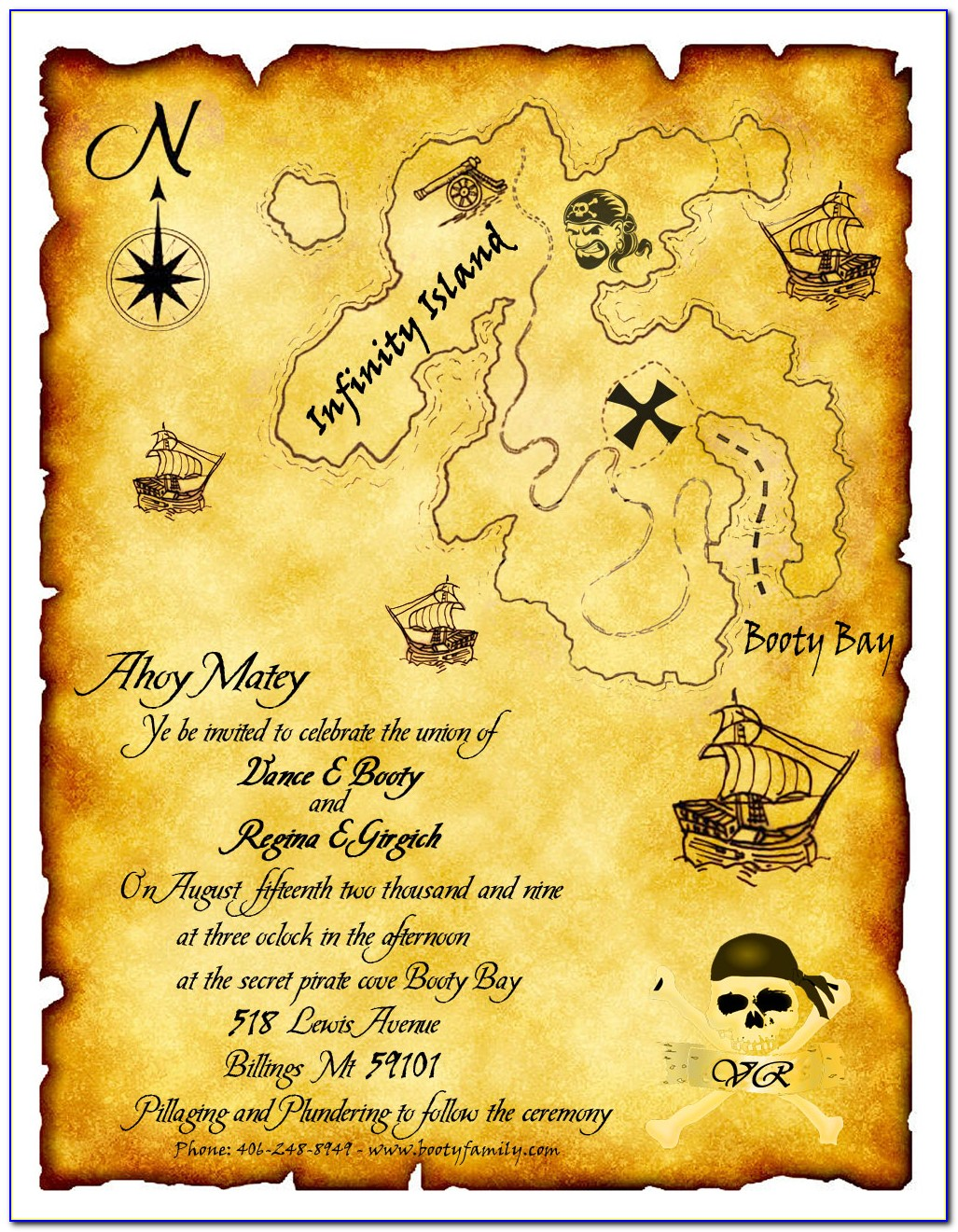 Treasure Map Party Invitations