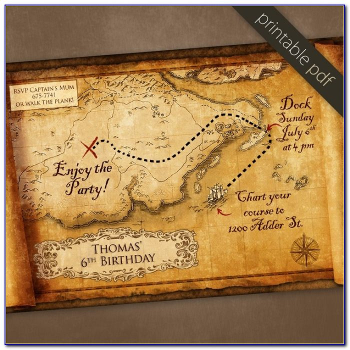 Treasure Map Wedding Invitation Template