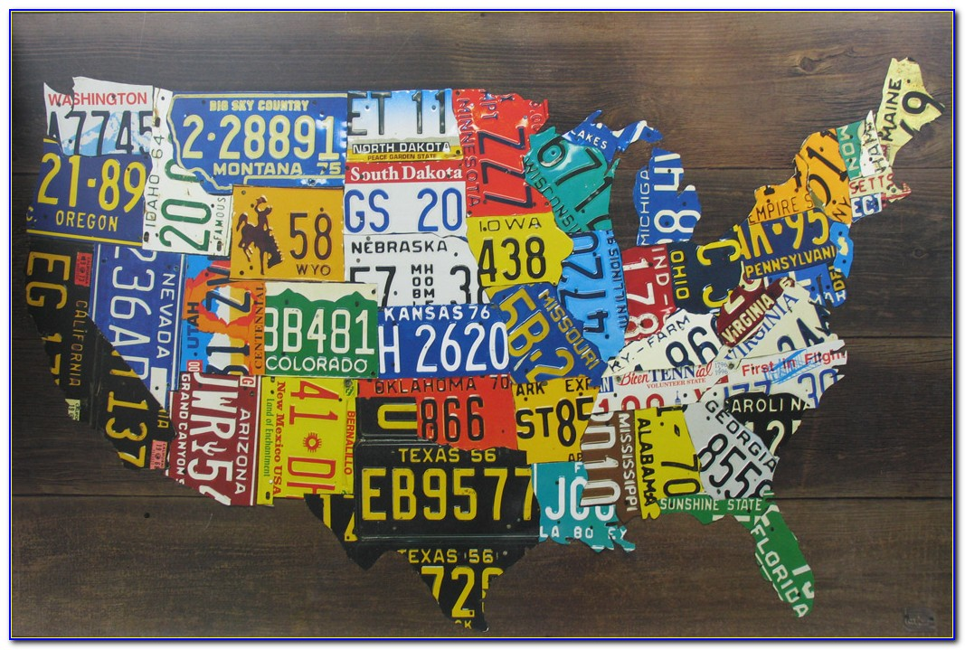 Us Map License Plate Art