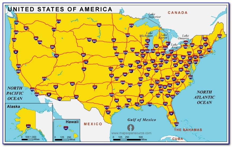 Us Map Showing Major Interstates