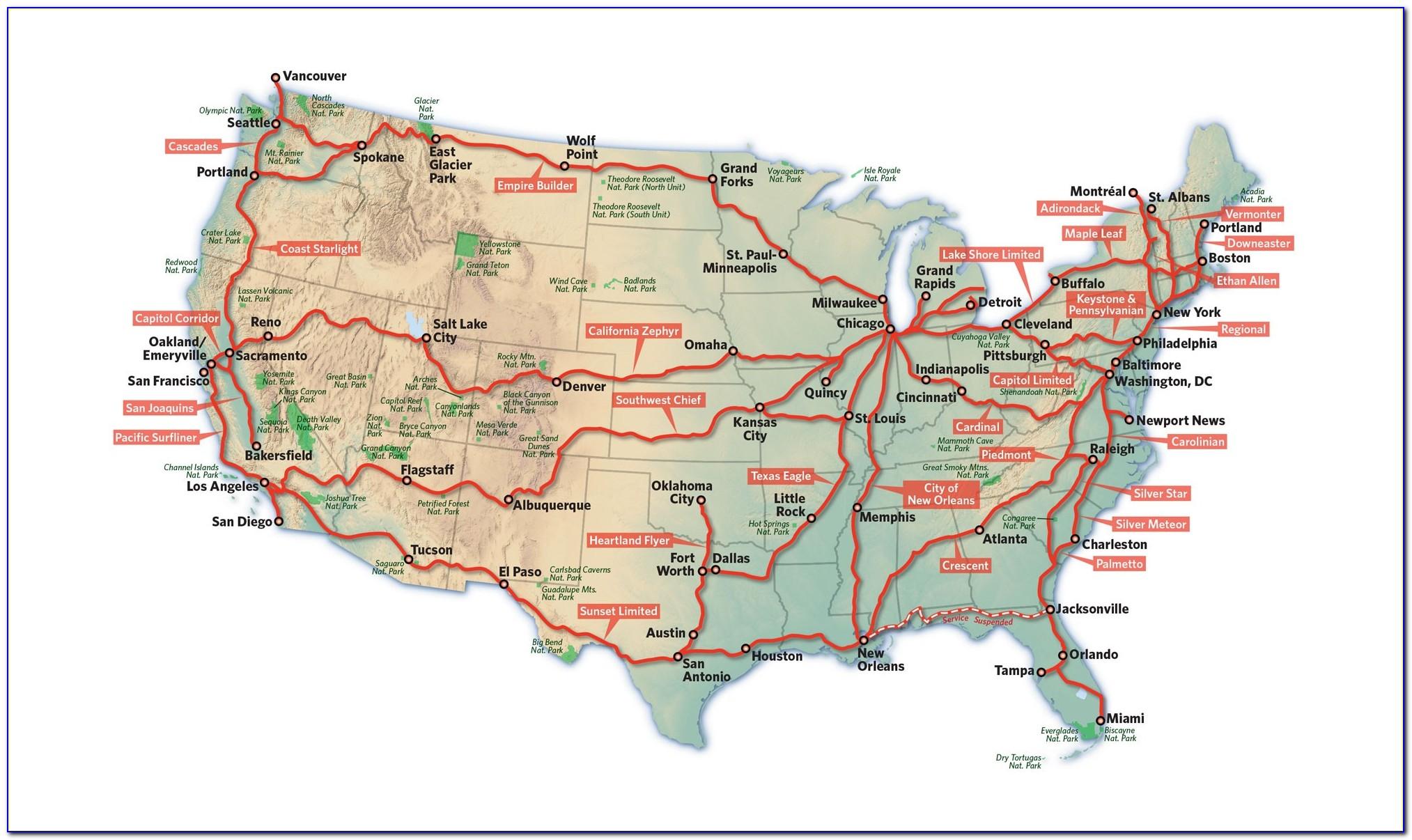 Us Train Travel Map