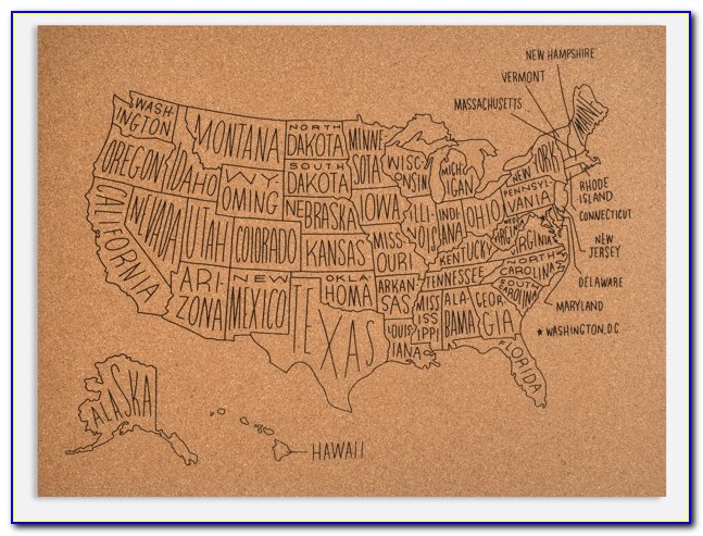 Us Wall Map Cork Board