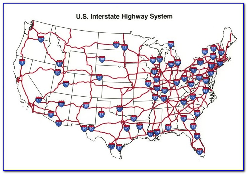 Usa Map With Interstates And Cities