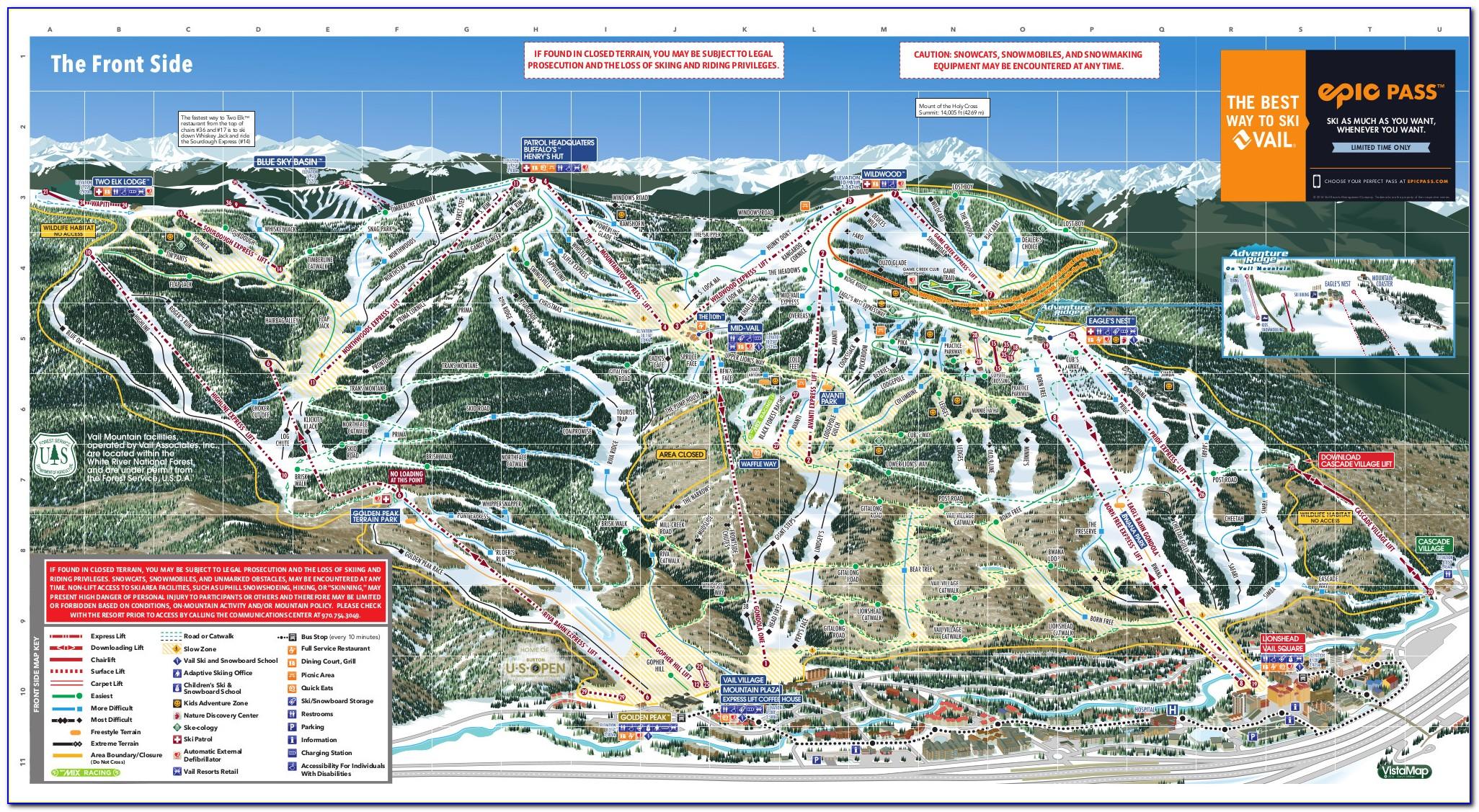 Vail Ski Map Blue Sky Basin