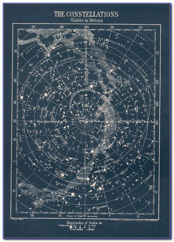 Vintage Constellation Star Map